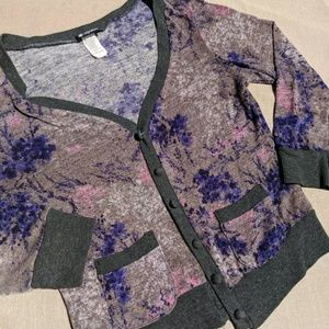 Lily White Crop Cardigan 3/4 Sleeve Floral Purple